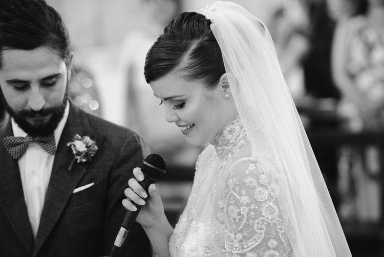Wedding Ceremony | Bride in Sartoria Cucciaioni Wedding Dress | Stylish Pink Wedding at Terzo di Danciano, Tuscany, Italy | Lucrezia Senserini Photography | Film by Righi Photography