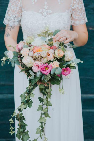 Blush Pink, Peach & White Bridal Bouquet | Bride in Sartoria Cucciaioni Wedding Dress | Stylish Pink Wedding at Terzo di Danciano, Tuscany, Italy | Lucrezia Senserini Photography | Film by Righi Photography