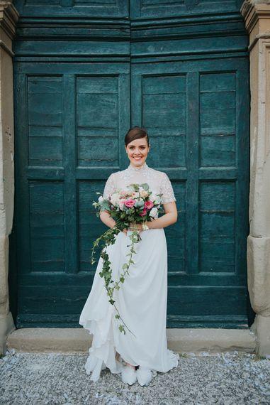 Bride in Sartoria Cucciaioni Wedding Dress | Blush Pink, Peach & White Bridal Bouquet | Stylish Pink Wedding at Terzo di Danciano, Tuscany, Italy | Lucrezia Senserini Photography | Film by Righi Photography