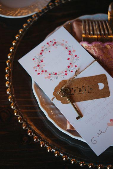 Wedding Stationery & Vintage Key Decor | Stylish Pink Wedding at Terzo di Danciano, Tuscany, Italy | Lucrezia Senserini Photography | Film by Righi Photography