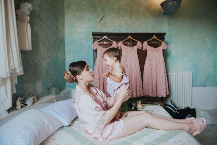 Wedding Morning Bridal Preparations | Bride & Daughter | Stylish Pink Wedding at Terzo di Danciano, Tuscany, Italy | Lucrezia Senserini Photography | Film by Righi Photography