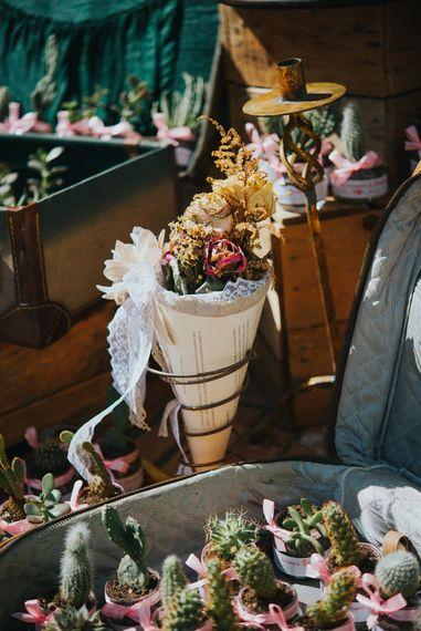 Flower Cone Wedding Decor | Stylish Pink Wedding at Terzo di Danciano, Tuscany, Italy | Lucrezia Senserini Photography | Film by Righi Photography