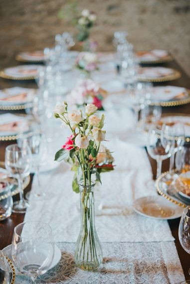 Flower Stems in Vases | Reception | Stylish Pink Wedding at Terzo di Danciano, Tuscany, Italy | Lucrezia Senserini Photography | Film by Righi Photography
