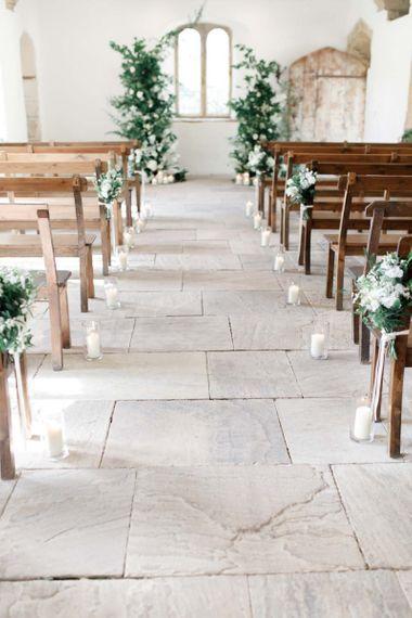 Aisle Decor For Wedding With Blue Bridesmaid Dresses