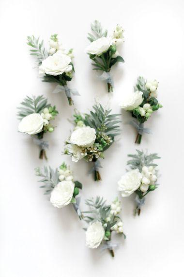 White Wedding Flower Buttonholes