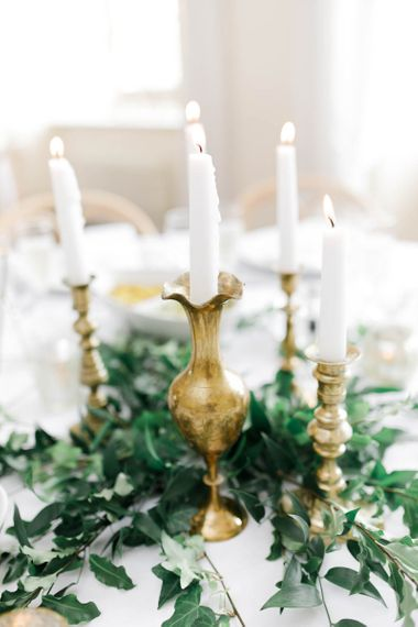Candles For Wedding Decor at Wedding With Blue Bridesmaid Dresses