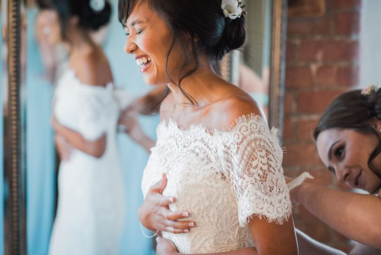 Bride in Lace Watters Dress with Bardot Neckline and Buttons Down Back | Smoke Bombs and Chinese Paper Fans Backdrop with Bride in Bardot Dress | Twig & Vine Photography