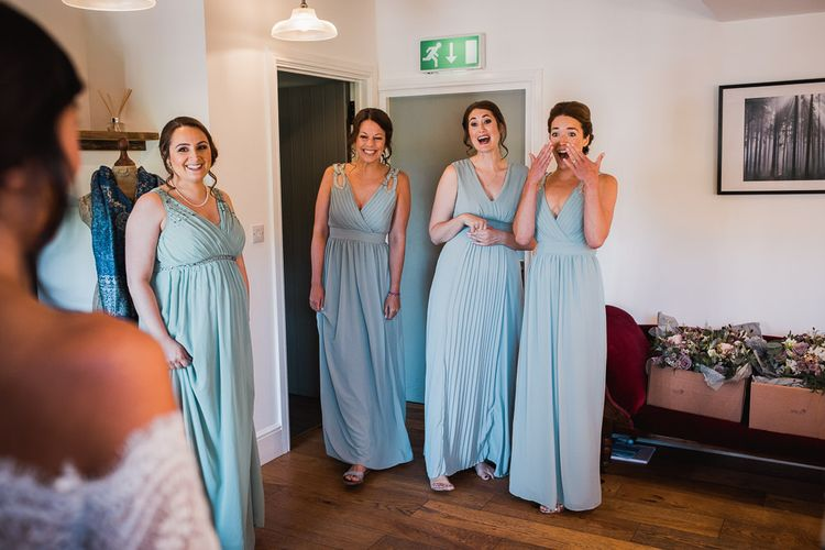 Bridesmaids in Sage Green Dresses with Embellished Straps from ASOS | Smoke Bombs and Chinese Paper Fans Backdrop with Bride in Bardot Dress | Twig & Vine Photography