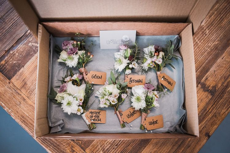 Dusty Pink and White Buttonholes Wrapped with Cappuccino Silk Ribbon | Smoke Bombs and Chinese Paper Fans Backdrop with Bride in Bardot Dress | Twig & Vine Photography