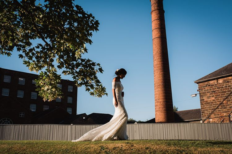 Bride in Lace Watters Dress with Bardot Neckline and Buttons Down Back | Bridal Up Do | Smoke Bombs and Chinese Paper Fans Backdrop with Bride in Bardot Dress | Twig & Vine Photography