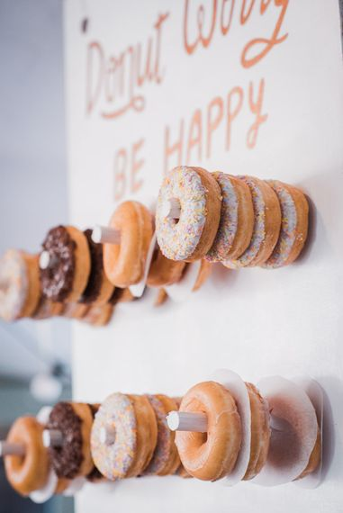 DIY Doughnut Wall with Krispy Kremes | Smoke Bombs and Chinese Paper Fans Backdrop with Bride in Bardot Dress | Twig & Vine Photography