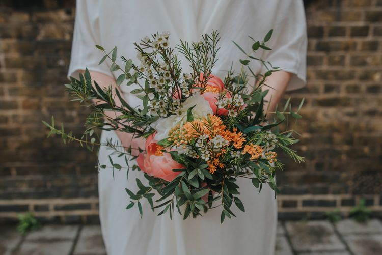 Coral Peony Bouquet | Coral Peony Humanist Wedding at The Tab Centre Shoreditch | Remain in the Light Photography