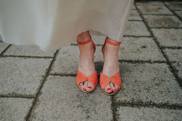 Coral Peep Toe Bridal Shoes | Coral Peony Humanist Wedding at The Tab Centre Shoreditch | Remain in the Light Photography