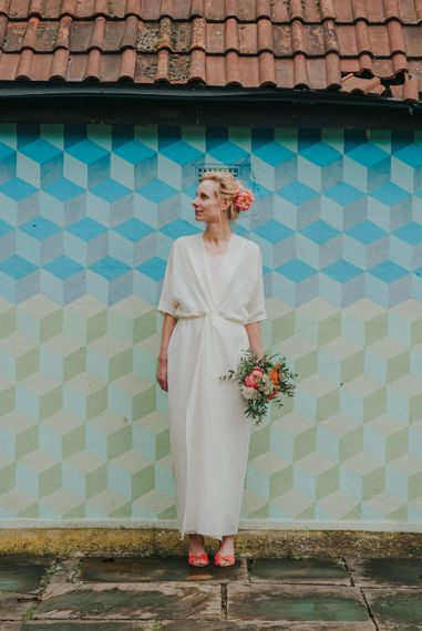 Bride in Wrap Front Wedding Dress | Coral Peony Humanist Wedding at The Tab Centre Shoreditch | Remain in the Light Photography