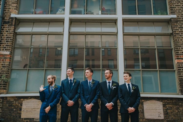 Groomsmen in Navy Suits | Coral Peony Humanist Wedding at The Tab Centre Shoreditch | Remain in the Light Photography