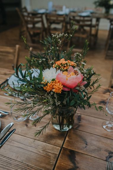 DIY Coral Peony Floral Arrangement | Humanist Wedding at The Tab Centre Shoreditch | Remain in the Light Photography