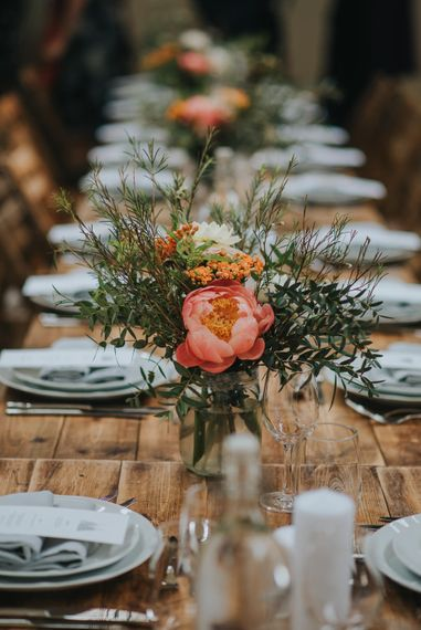 DIY Coral Peony Floral Centrepiece | Coral Peony Wedding at The Tab Centre Shoreditch | Remain in the Light Photography