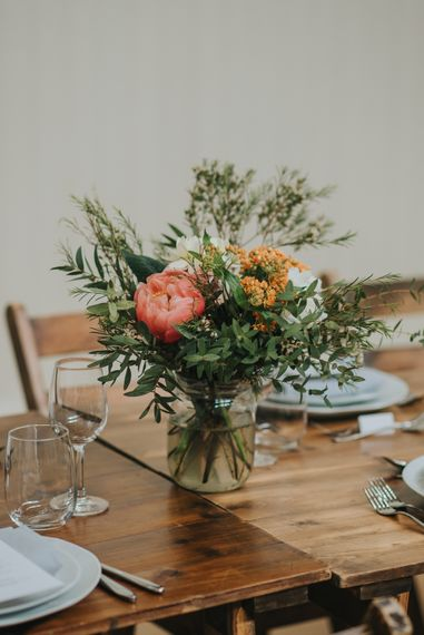 DIY Coral Peony Flower Arrangement | Coral Peony Wedding at The Tab Centre Shoreditch | Remain in the Light Photography