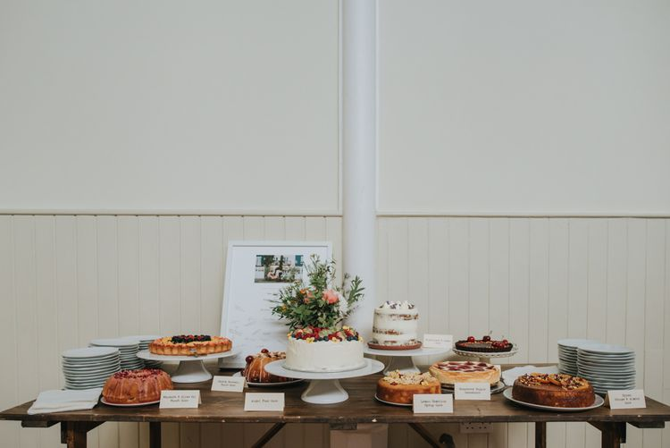 Wedding Cake Dessert Table | Coral Peony Wedding at The Tab Centre Shoreditch | Remain in the Light Photography
