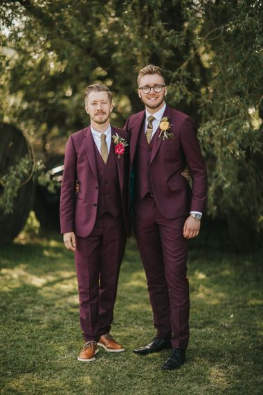 Groomsmen in Burgundy Paul Smith Suits