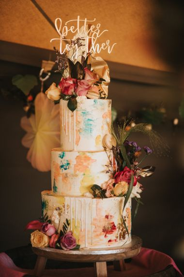Colourful Three Tier Drip Wedding Cake with Better Together Cake Topper