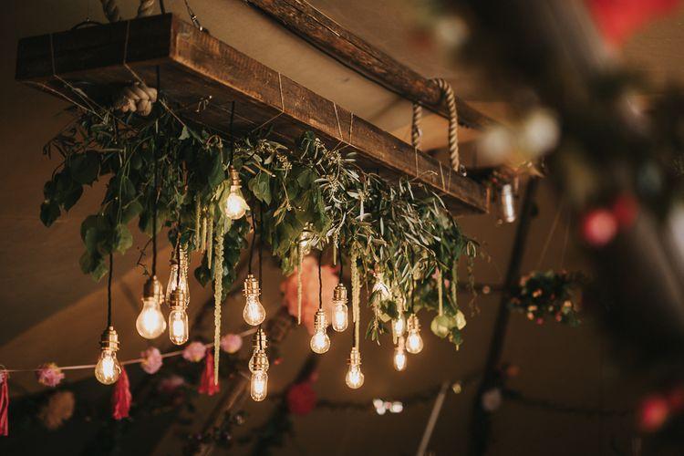 Edison Bulb Light Installation Wedding Decor