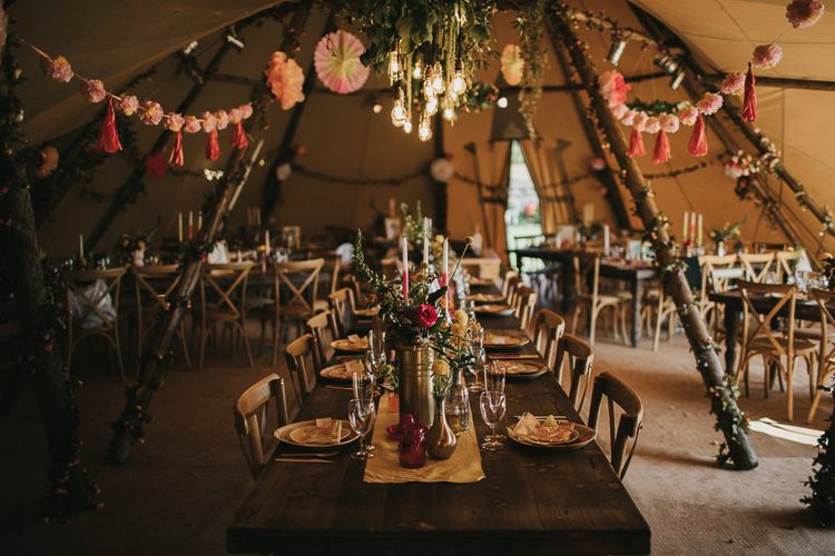 PapaKata Teepee Wedding Reception with Colourful Decor with Pompoms, Wildflowers and Candles