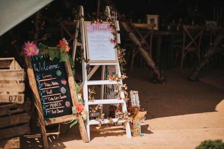Vintage Step Ladder Menu Board and Chalkboard Order of the Day Wedding Signs