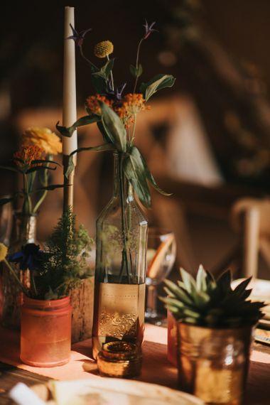 Wildflower Stems in Bottles as Centrepieces