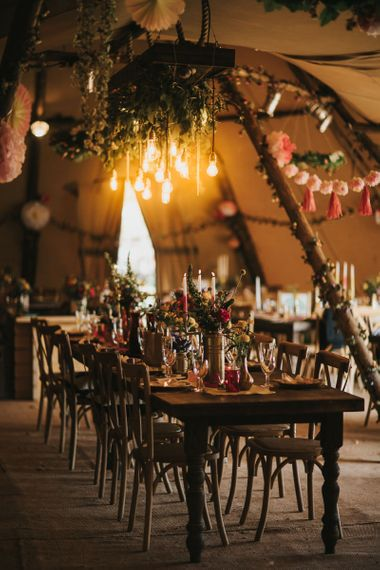 PapaKata Teepee Wedding Reception with Colourful Decor and Edison Bulb Light Installation