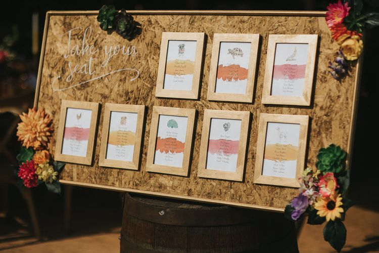 Cork Board Table Plan with Frame Table Numbers and Names