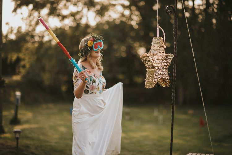 Bride in Colourful Embroidered Luna Bride Wedding Dress  Hitting Gold Star Piñata