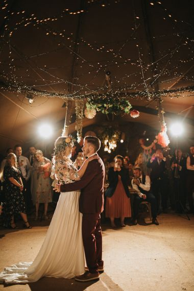 First Dance with Bride in Colourful Embroidered Luna Bride Wedding Dress and Groom in Burgundy Paul Smith Suit