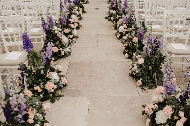 Aisle Floral Decor in Pink and Purple