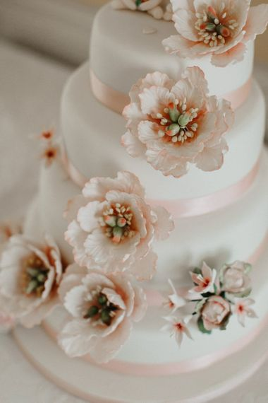 Flower Wedding Cake Decorations with Pink Ribbon