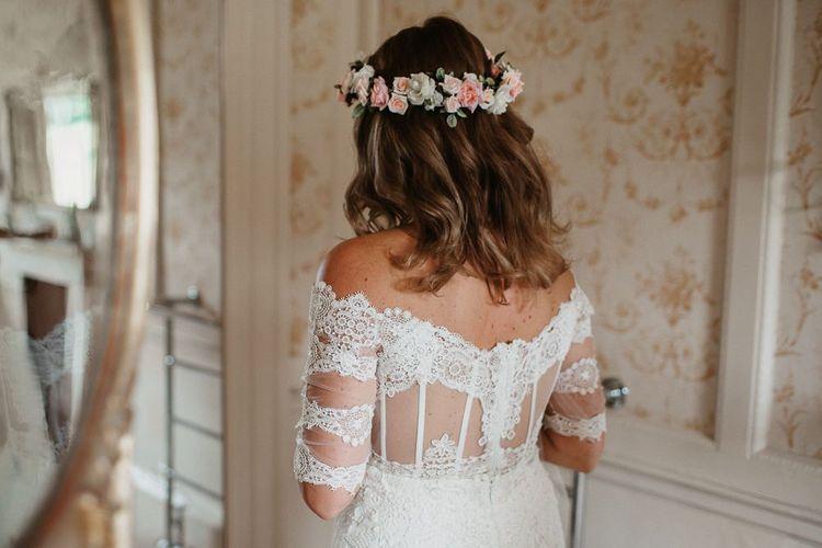 Boho Lace  Off the Shoulder Wedding Dress Back  with Flower Crown