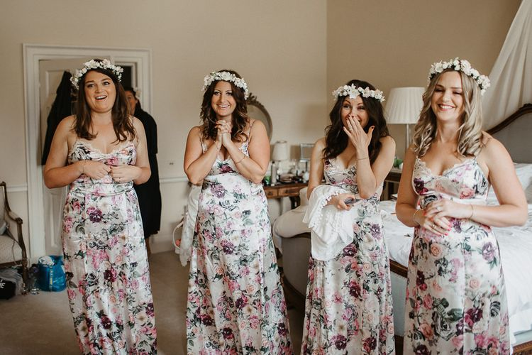 Bridesmaid in ASOS Floral Dresses With Flower Crown