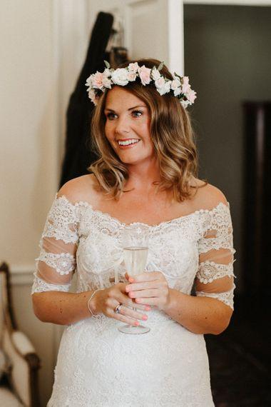 DIY Flower Crown With Bardot Lace Yolan Cris Dress