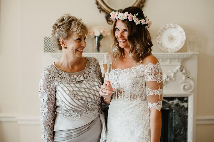 Mother of The Bride with Daughter During Wedding Preparations