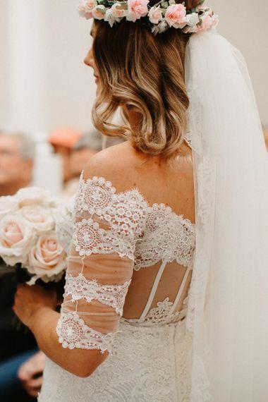 Lace Detail on Bardot Boho Bride Dress