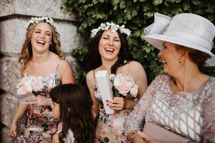 Bridesmaids and Mother of The Bride in Light  Grey Lilac Outfit and Hat