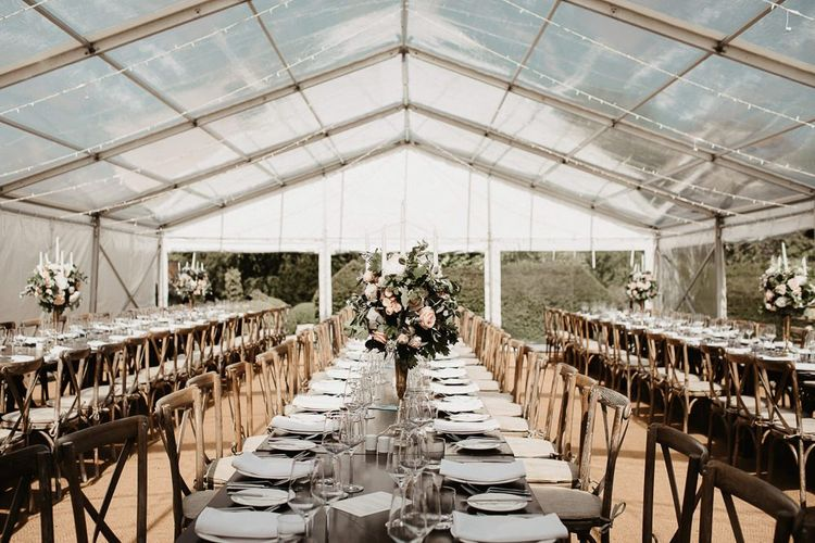Marquee Reception with Long Tables and Tall Centrepieces