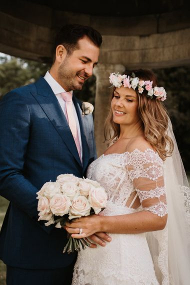 Bride Dress with Lace Detail, Blush Bouquet and Pink Flower Crown