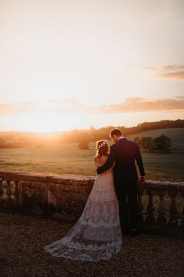 Sunset with Bride and Groom at Country House Wedding Venue