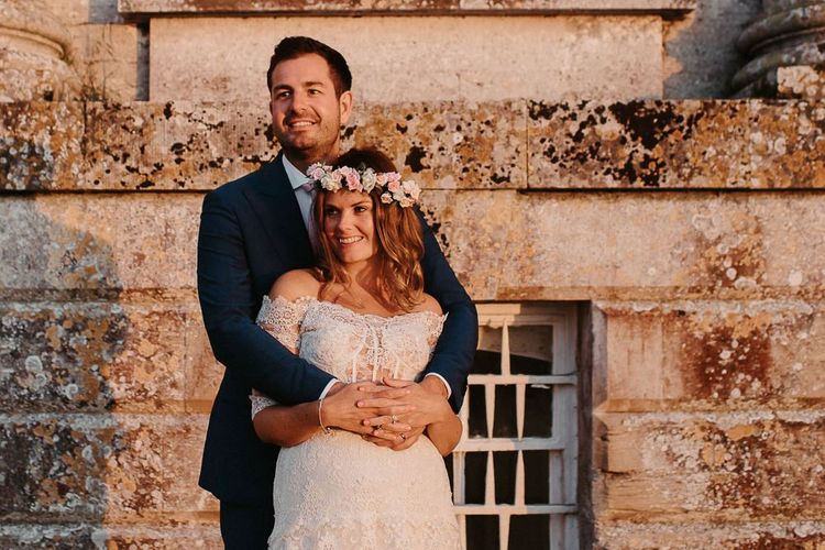 Gorgeous Couple Bride and Groom with DIY Flower Crown