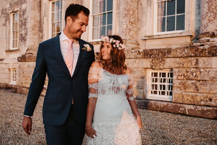 Bride and Groom Portrait with Country House Venue