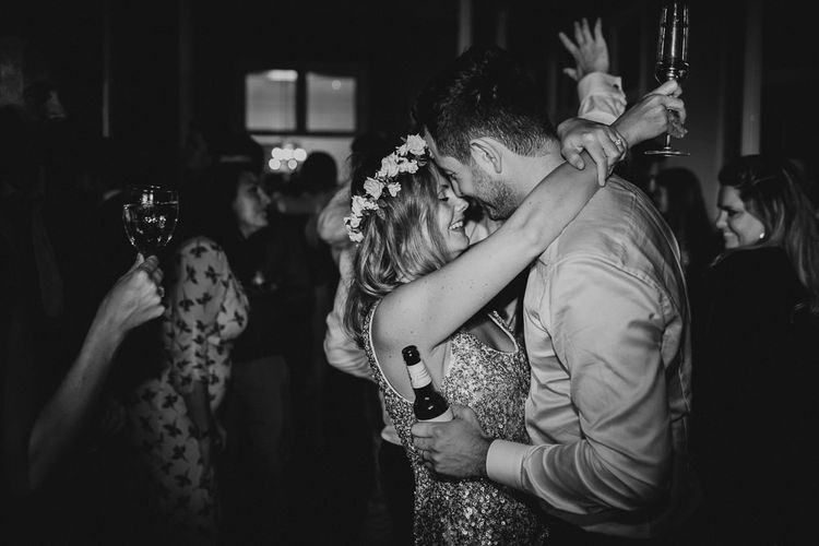 Bride and Groom Dancing With Bride Change of Dress to Sequin Number