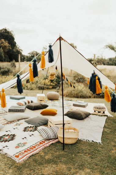 Chill Out Area with Rugs, Blankets and Cushions