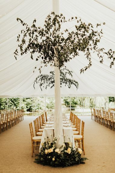 Marquee Reception with Greenery and Peach Wedding Flower Decor
