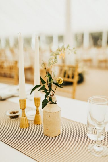 Wedding Table Centrepiece Decor with Candlesticks and Flower Stems in Vessel